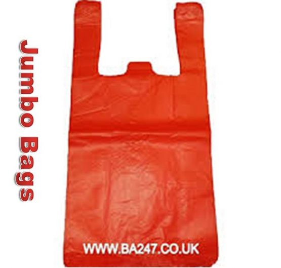 Bags MD Vest Carrier Bag Mega Red Jumbo 100/Bag 10/Box