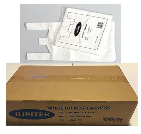 Bags HD Vest Carrier Bag Medium (10 x 15 x 18) Jupitor White 100/Bag 20/Box