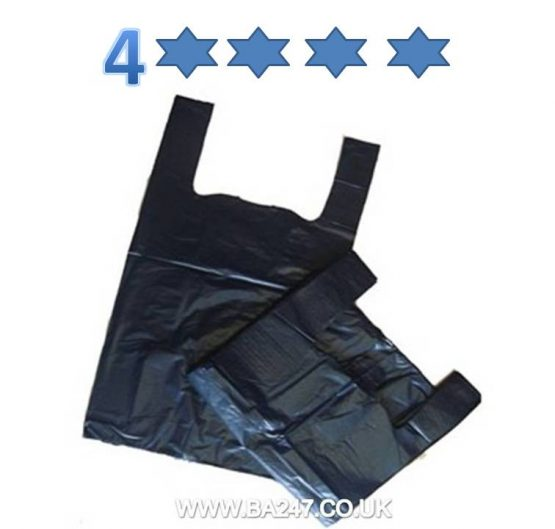 Bags MD Vest Carrier Bag Large (11 x 17 x 21) 4 Star Black 100/Bag 10/Box