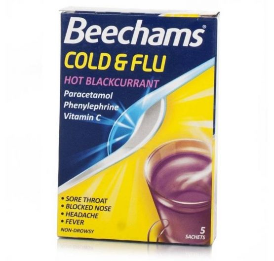 Medicine Beechams® Cold & Flu Hot Blackcurrant 5 Sachets 6/Box