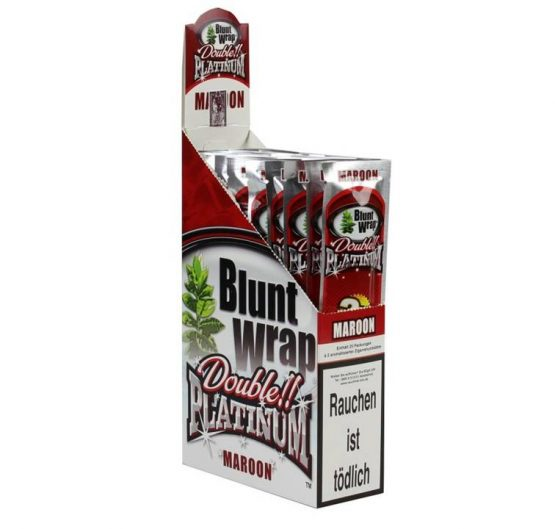 Blunt Wraps Double Platinum Maroon 2-Pack 25/Box