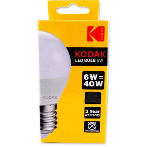 Kodak Bulb LED Globe E27 Large Screw Warm Glow 6W/40W