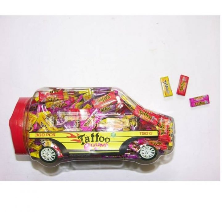 Bubble Gum Tattoo Gum in A Car 300 pcs-1