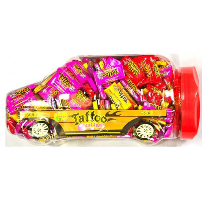 Bubble Gum Tattoo Gum in A Car 300 pcs