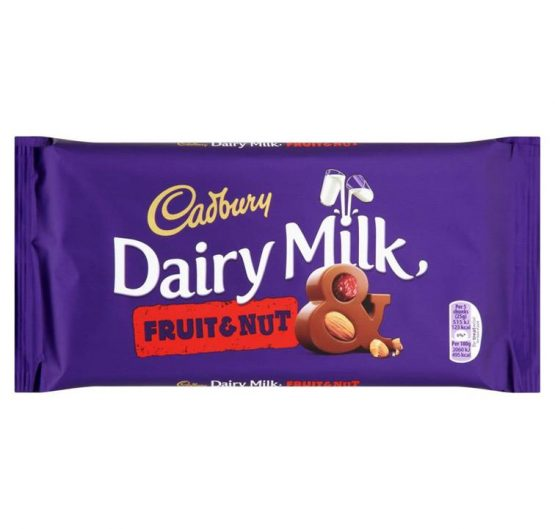 Chocolate Cadbury DairyMilk Fruit n Nuts Bar 100g X 18