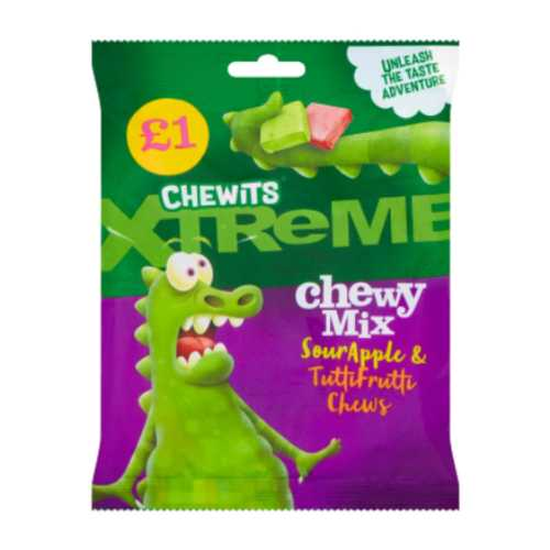 Chewits Xtreme Chew Mix Sour Apple & Tutti Fruity 125g £1 Bag X 12