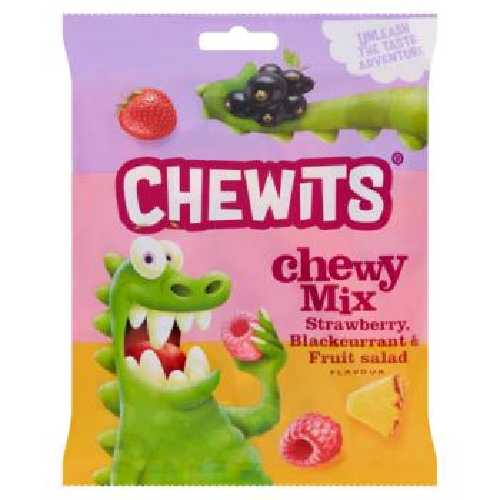 Chewits Xtreme Chew Mix Strawberry, Blackcurrant & Fruit Salad 125g £1 Bag X 12