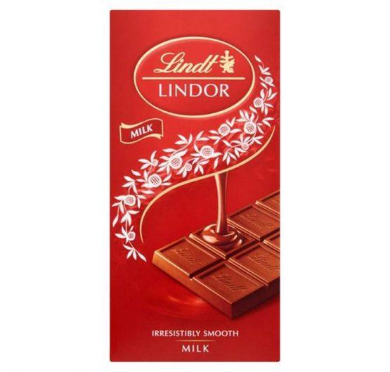 Chocolate Lindt Smooth Milk Chocolate 100g Bar X 10