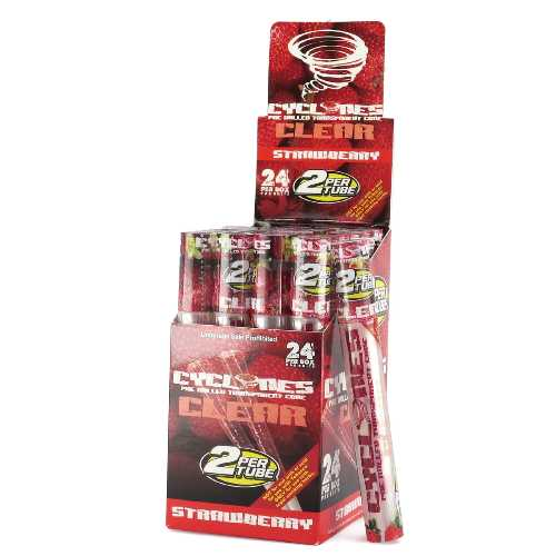 Cyclones Clear Pre Rolled Cone Strawberry X 24