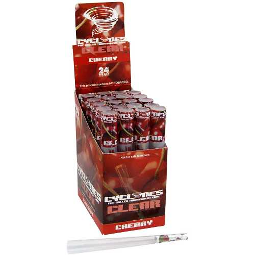Cyclones Clear Pre Rolled Cone Cherry