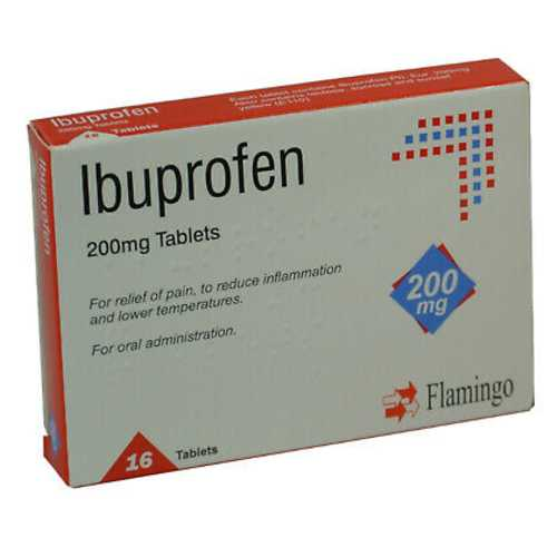 Medicine Ibuprofen Tablets Flamingo 200 mg 16 ct X 12