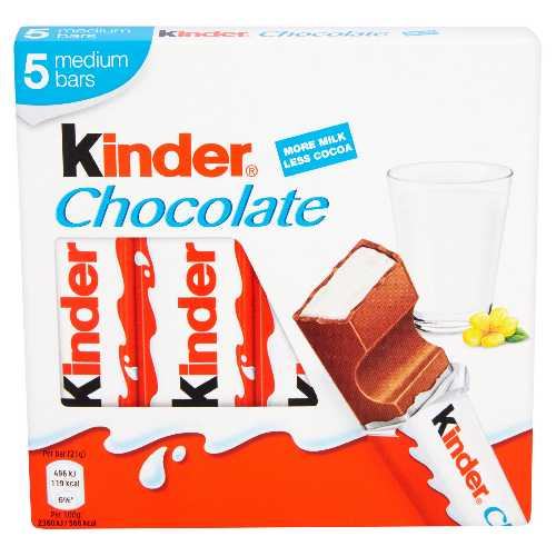 Chocolate Kinder Medium Bar 5-Pack X 10