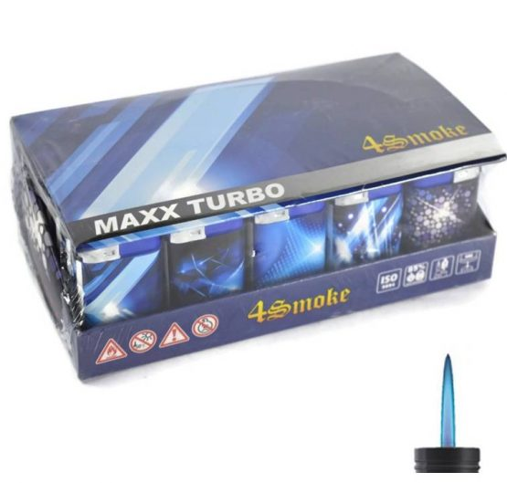 Lighters 4 Smoke Maxx Turbo Windproof Blue Light 30 Per Tray