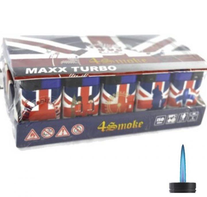 Lighters 4 Smoke Maxx Turbo Windproof Union Jack 30 Per Tray