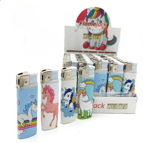 Lighters Unicorn Cartoon Electronic Printed X 50