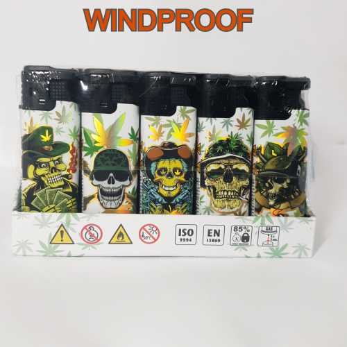 Lighters Windproof Skulls With Leaf X 25