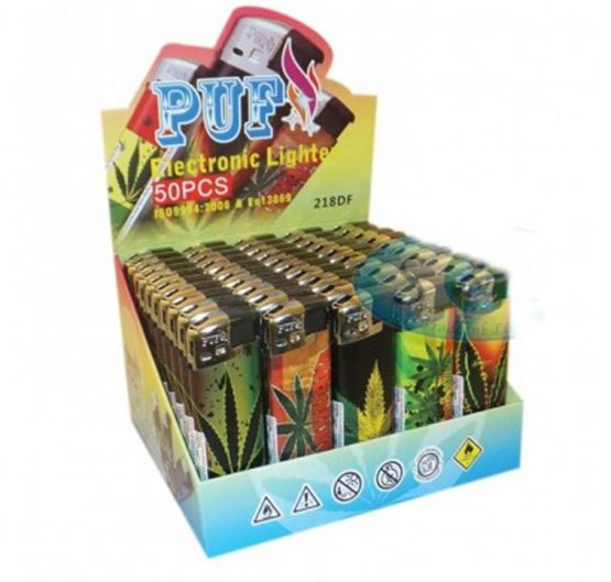 Lighter Puf Electronic ASSORTED LEAF 50/Box