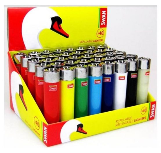 Lighters Swan Refillable Re-flintable Large X 40