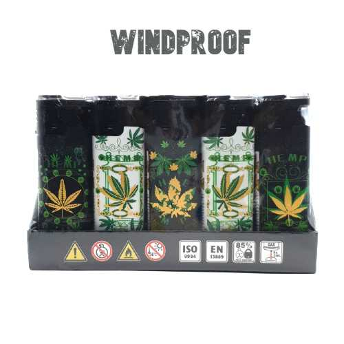 Lighters Windproof Hemp Leaf X 25