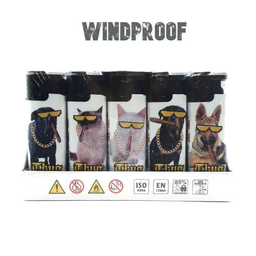 Lighters Windproof Thug Life Cats & Dogs X 25