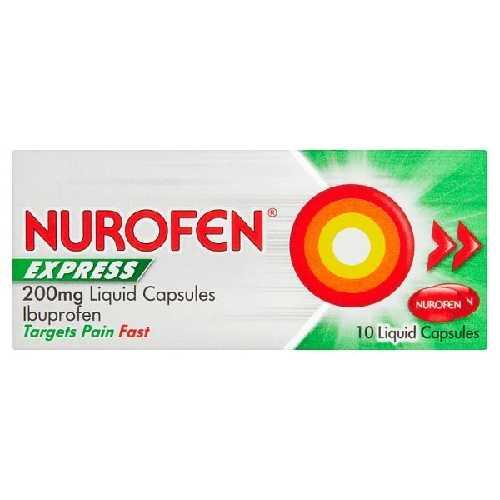 Medicine Nurofen Express 10 Liquid Capsules 200 mg