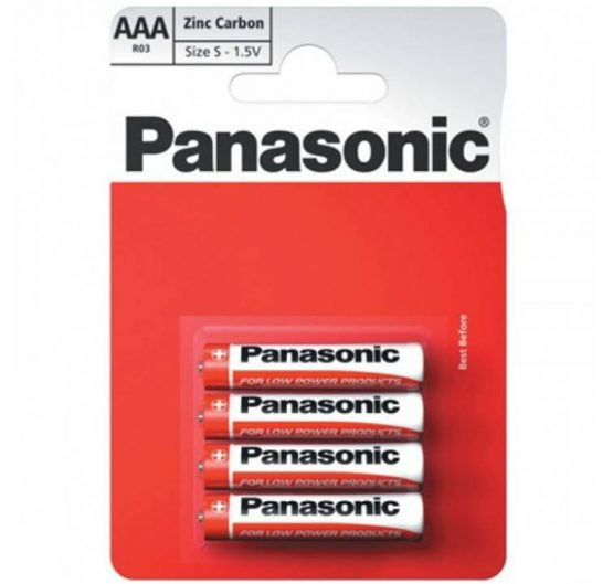Batteries Panasonic Zinc Carbon AAA-4 (R03) 12/Box