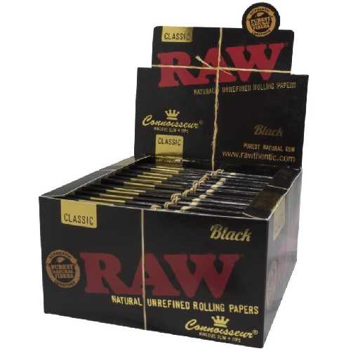 Raw Classic Connoisseur King Size Slim + Tips Black X 24