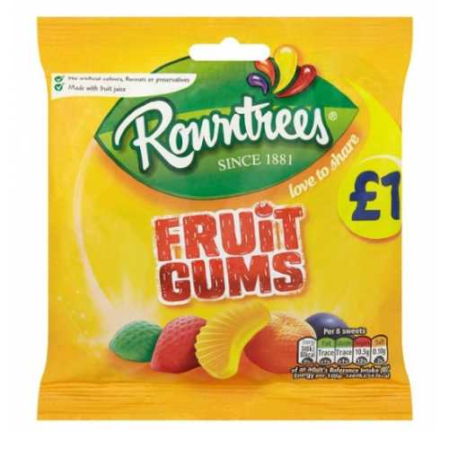 Rowntrees Fruit Gums Pouches 120g X 10
