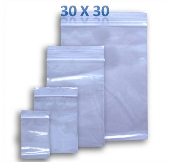 Bags Zipper Size 30mm x 30mm Clear 100 ct 10/Box