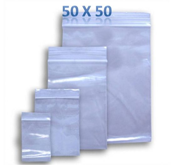 Bags Zipper Size 50mm x 50mm Clear 100 ct 10/Box