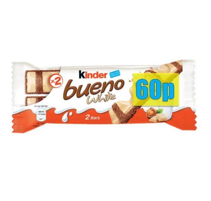 Chocolate Kinder Bueno White Twin Bar T-2 60p Priced 30 Per Box
